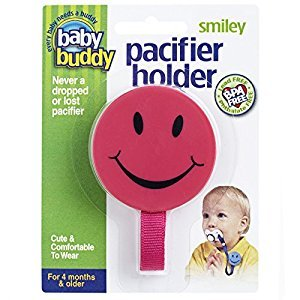 Baby Buddy Smiley Pacifier Holder, Pink