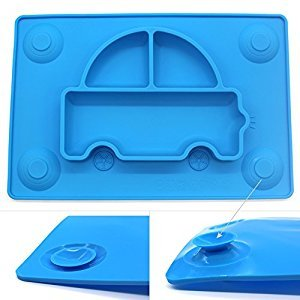 INNERNEED One-piece Silicone Placemat Feeding Plate Mat Tray for Baby, Kid, Child Toddlers Highchair, Dining table, 4 Suction Cups (Blue)