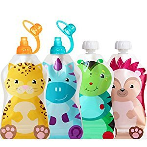 ChooMee Snackn Reusable Food Pouch - 4 CT and Sipn Soft Top - 2 CT | 5 oz. | Soft Pouch + Zero Leak Zipper | Enhance their Feeding Experience with Vibrant Colors and Fun Animal Characters