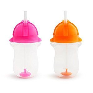 Munchkin Click Lock Any Angle 10oz. Weighted Straw Cup, Pink/Orange, 2 Pack