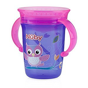 Nuby 531036OW No-Spill 360⁰ Wonder Cup 8oz., Purple/pink