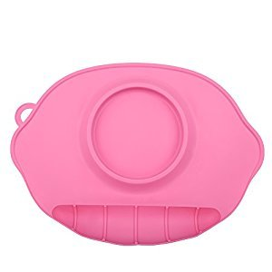 1Pc Cute Silicone Mat Silicone Placemat Suction Dinning Table Food Dish Tray Desk Feeding Mat for Baby Kids(Pink)