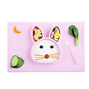 INCHANT Baby Tableware Set - One-piece Kids Silicone Suction Plate Feeding Tray With Toddler Soft Spoon, Baby Palcemat Fits Highchair And Travel Feeding, Non-Slip & Spill-Proof, Easy Clean