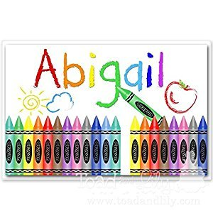 Kids PLACEMAT Crayon Design Children's Personalized Wipe-able Place Mat Laminated Kids Placemat with Name PLM003
