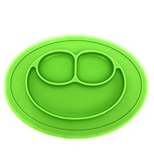 MYBABYMYKID Mini Mat - One-piece silicone placemat + plate - Green