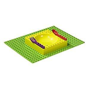 Placematix 4pc Interlocking Kids Gift Box Dinner Set with Placemat, Bowl, Fork & Spoon