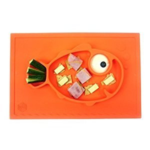 Smiley Fish Placemat by Hexnub, One Piece Silicone Suction Placemat and Plate – for Kids, Toddlers and Babies (Orange)