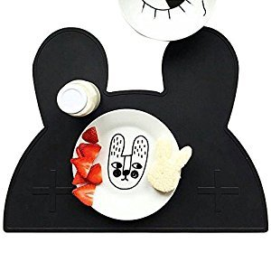 Tickos Bunny Silicone Placemat Food-grade Children's Waterproof non-slip Silicone Bear placemats ins explosions silicone Placemat (Black)