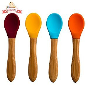 Babynow Toddler Spoons [4 Colour Pack] Bamboo Handle with Silicone Tip - No BPA - Soft Curved Tip - Perfect Babyshower Present