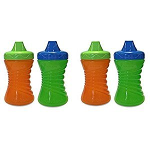 Gerber Graduates 10 Ounce Fun Grips Hard Spout Sippy Cup, 4 Count, Green/Orange by Gerber Graduates