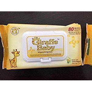 GiraffeBaby Baby Wipes (24 Packs x 80 ea)--Natural Corn Based--by giraffebaby--giraffe baby