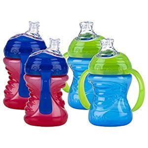 Nuby No-Spill Super Spout Grip N' Sip, Red and Blue, 4 Plus Months, 4 Count