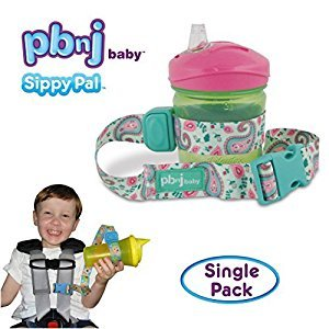 SippyPal by PBnJ baby - Secures Sippy Cups, Baby Bottles, Baby Toys & Accessories (Green & Pink Paisley)