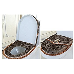WSHINE Velet Toilet Accessories Lid Cover + Toilet Seat Cover with Zipper, Set of 2 (coffee)