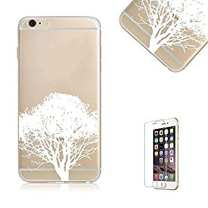 iPhone 6 Plus Case. iPhone 6S Plus Cover with Free Screen Protector.Funyye Pink Cherry Floral Pattern Crystal Clear Soft TPU Gel Slim Case for iPhone 6/6S Plus (5.5 inch)-White Tree