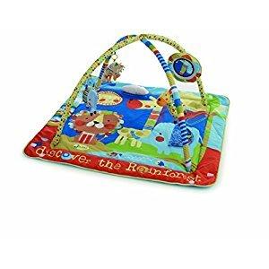 JANE Tapis de jeux bien rembourré, avec des tissus et des activités pour stimuler le jeu. Modele spécial. Arches de jeux amovibles. On peut l'allonger comme un grand tapis ou remonter ses côtés latéraux quand le bébé est petit. Avec miroir, peluche