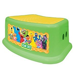 Sesame Street Step Stool, Green/Yellow, Sesame Street Characters , Safe Step, Solid & Sturdy Base, Rubber Non-slip stepping surface, Large rubber feet hold the step stool firmly in place, Holds Upto 200 Lbs., Rounded corners