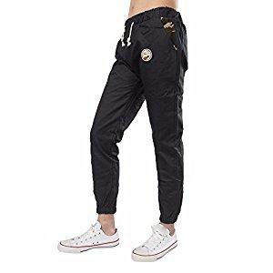 Jogger Sweatpants Hosamtel Men Slim Elastic Waist Badge Harem Trousers Sportwear (Black, M)