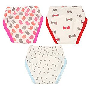 Potty Toilet Training Pants Baby Boys Girls Reusable 5 Layers Nappy Underwear Pack of 3 Knot Spot Bird Size 90