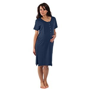 BambooMama Women's Birthing Shirt - For Pregnancy, Labor and Nursing -Extra Large (Pre-pregnancy US Size 16-18)-Midnight Blue