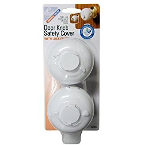 Mommy's Helper Door Knob Safety Cover with Lock Guard, White, 2-Pack