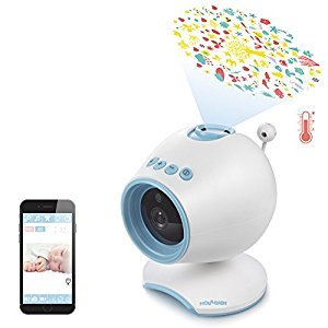 HOLABABY P1 HD Video Baby Monitor Camera | Monitor Live Baby Sound Sleep & Light Projector with Lullabies, Soothing Projection | Sleepy & Relaxing Temperature, with Night Visiont (Blue)