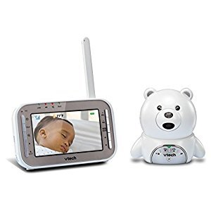 VTech Safe and Sound Audio/Video Baby Monitor with Bear Camera, White, One Size