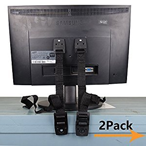 Anti Tip Straps for TV Furniture and All Parts Strong Wall Mounting Hardware Safety for Instant Earthquake baby kid Child Proof adjustable straps & pack of 2 (BaoWeiJD) (BLACK)