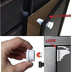 Baby Safety Magnetic Locks for Cabinets - No Tools or Screws Needed - 15 Pieces (12 Locks + 3 Keys)