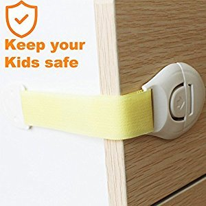 EEFUN Baby Safety Locks, Child Proof Cabinets, Drawers, Appliances, Toilet Seat, Fridge and Oven, no Drilling, Super Sticky Adhesive and Latch System, Adjustable Length( Pack of 10, Yellow)