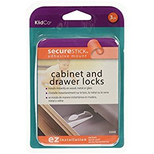 KidCo Adhesive Mount Cabinet/Drawer Lock, White, 3 Count