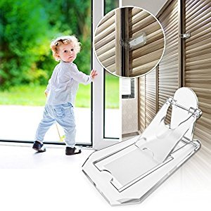 Sliding Door Lock to Baby Proof Closets, Windows, Glass Doors, Clear, 4 Pack