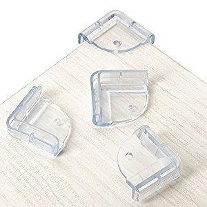 Premium Tinok Corner Guard for Baby Proofing Table and Furniture - 4-Pack Value Set, Clear Rubber, Baby Safety