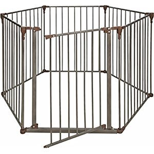 Crown Pet Products Convertible Pet Yard & Gate with Extra Wide Door / Indoor Outdoor Dog Exercise Playpen, Dark Bronze/Brown