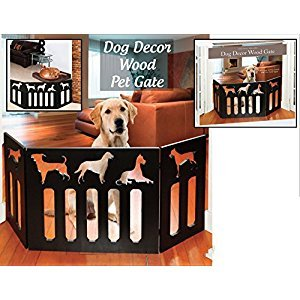 Indoor/Outdoor Dog DÃcor Solid Wood 3 Section Pet Gate - Black