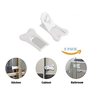 Sliding Door Lock for Baby Proofing, Child Safety Locks for Patio, Closet, Shower Sliding Doors,Childproof Cupboard Kitchen Cabinet Latch,Lideemo,(Pack of 2)