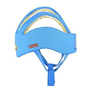ICOCO Baby Helmet Soft Cotton Adjustable Infant Baby Safety Head Protector Protection Adjustable Head Guard Protective Harnesses Cap for Baby Infant Toddler Kids (3 Lines, Sky Blue)
