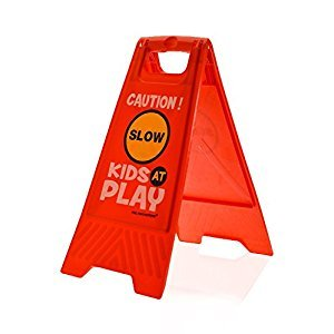 Kids Playing Safety Floor Sign for Yards and Driveways (Double-Sided, Red) -