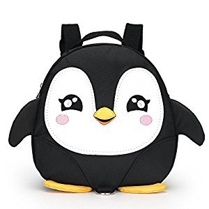 Baby Toddler Walking Safety Backpack Mini Penguin Anti-lost Travel Bag with Safety Leash for Baby 1-3 Years Old (Black)