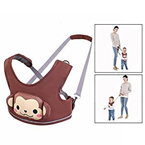 Itian Cartoon Cotton Baby Safety Walking Harness Cute Coffee Monkey Toddler Vest Fits 6~48 Months Kid Anti-Lost Backpack