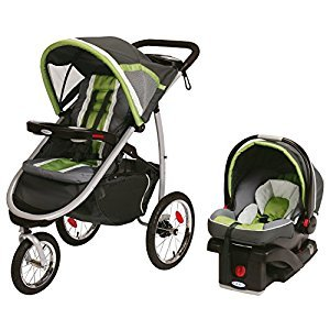 Graco Fast Action Fold Click Connect Jogger Travel System with Snug Ride 35 Piazza, Grey and Green