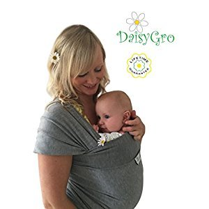 •NEW CANADA RELEASE!• DaisyGro® Breathable Soft Cotton Baby Sling Carrier, Baby Wrap, Nursing Cover, Grey, Regular Size 0-12