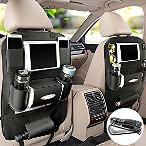 PALMOO Pu Leather Car Seat Back Organizer and iPad mini Holder, Universal Use as Car Backseat Organizer for Kids, Storage Bottles, Tissue Box, Toys (Black, A)