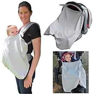 Little Goat Sun Cover UPF 50 for Car Seats, Baby Carriers & Strollers (Grey)