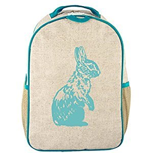 SoYoung Toddler Backpack - Raw Linen, Eco-Friendly, Non-Toxic, Retro-Inspired Design (Aqua Bunny)