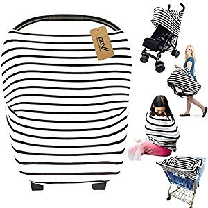 iZiv Ultrasoft 4-in-1 Multi-use Baby Stretchy Cover Car Seat Canopy/Nursing Cover/Shopping Cart Cover/Infinity Scarf Perfect Gift for Baby (Color-5)