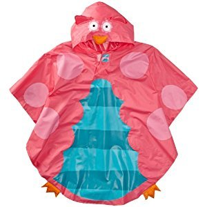 Stephen Joseph Little Girls Rain Poncho, Teal Owl, One Size