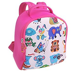 F40C4TMP Kids Backpack Kindergarten Preschool Neoprene Nursery Bag Cartoon Animals Zoo