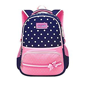 Fanci Polka Dot Bowknot Kids School Backpack Nylon Primary School Book bag