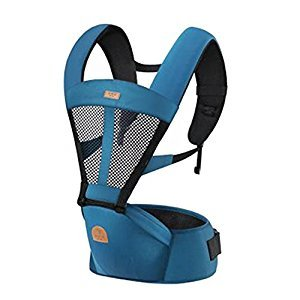 Baby Carrier Single Waist Stool Hip Seat Carrier,Pure Cotton Baby Carrier Blue